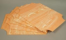6 Marbled Plastic Place Mats. Peach ground with o