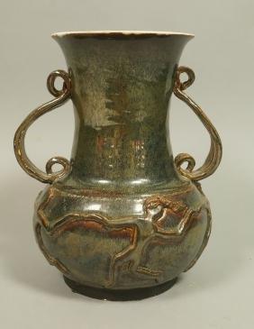 Modernist Pottery Handled Vase. Signed. Dancing f