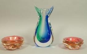 3pc MURANO Art Glass Lot. Signed case glass vase