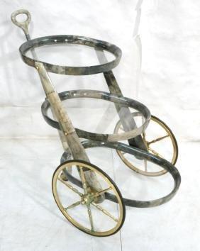 ALDO TURA Gray Goatskin Lacquered Rolling Tea Car