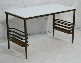 Industrial Iron Side Table Vitralite Glass Top. I