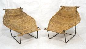 Pr Woven Wicker Cocoon Sling Lounge Chairs. Black