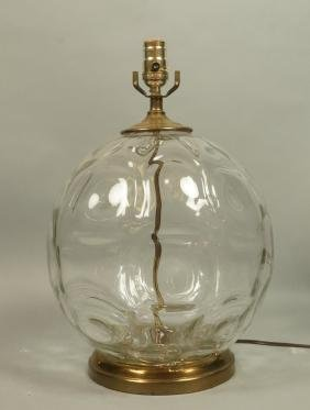 Single Large Bubble Glass Table Lamp. Dimpled thi