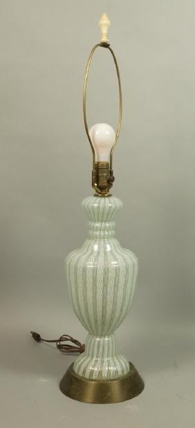 Murano Art Glass Table Lamp. Pale Blue & White la