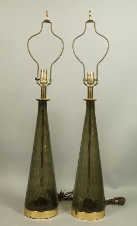 Pr Modernist Smoked Glass Table Lamps. Tapered gl
