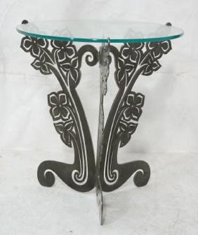Contemporary Cut Steel Floral Base Side Table. Ro
