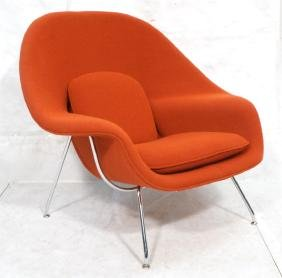 KNOLL Red Womb Lounge Chair. Thin chrome tube fra