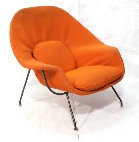 KNOLL Assoc Orange Womb Lounge Chair. Thin black