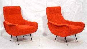 Pr Italian Upholstered Modernist Lounge Chairs. L