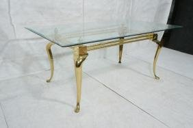 Large Brass Dining Table. Glass Top. Heavy French