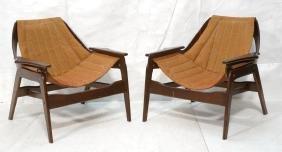 Pr Modernist Sling Seat Lounge Chairs. Dark wood