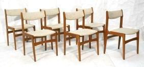 Set 6 Danish Teak Modern Dining Side Chairs. Oatm