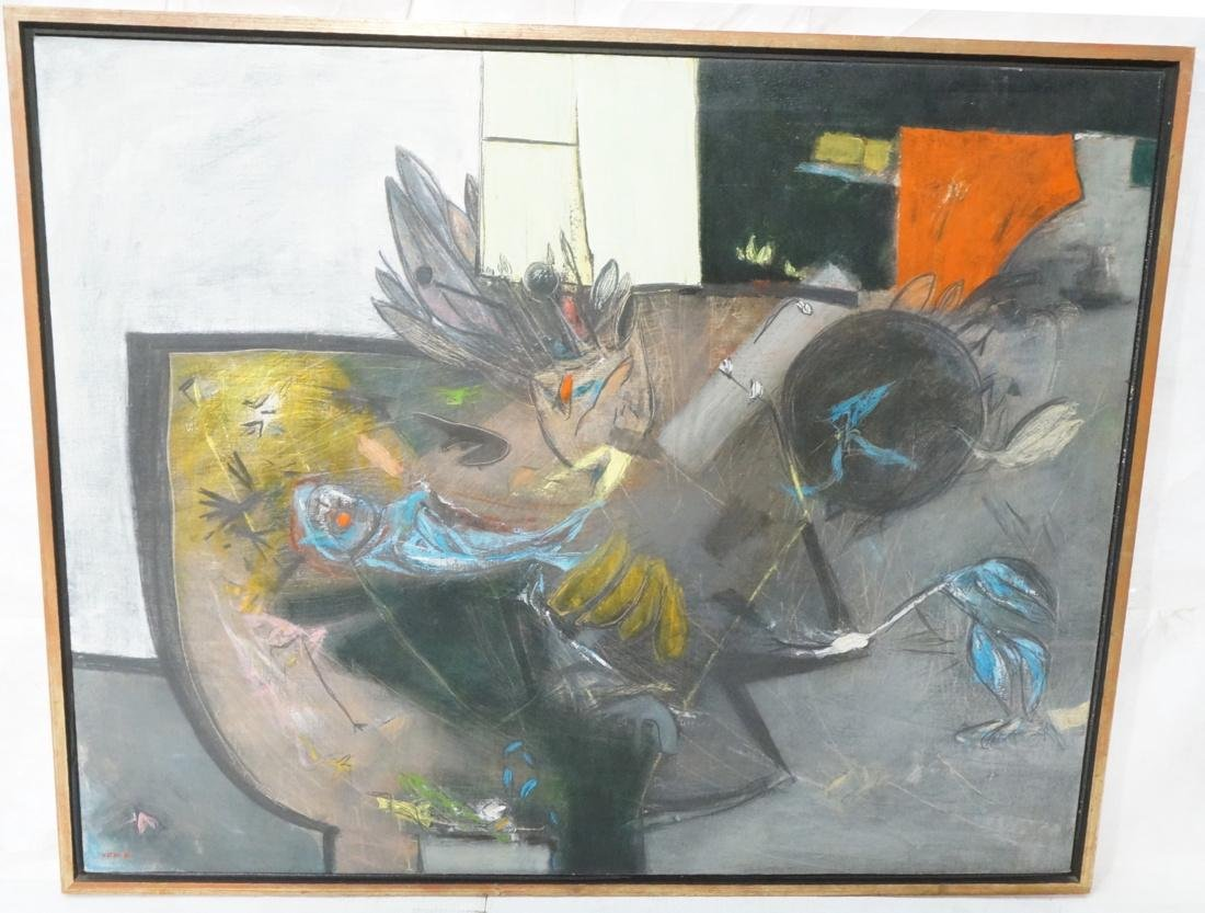 Modernist Abstract Oil Painting. Abstract Birds &