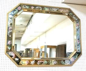 Eglomise Mirror Framed Wall Mirror. Floral and sc