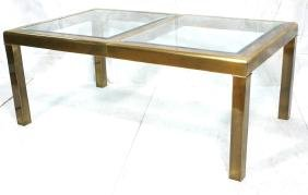 MASTERCRAFT Bronze & Glass Dining Table. Inset be