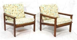Pr Walnut Modern Mid Century Lounge Chairs. Wide