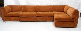 5pc Rust Velvet Sectional Sofa Pit Set. Channel s