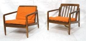Pr Dark Wood Open Arm Lounge Chairs. Wood thin sl