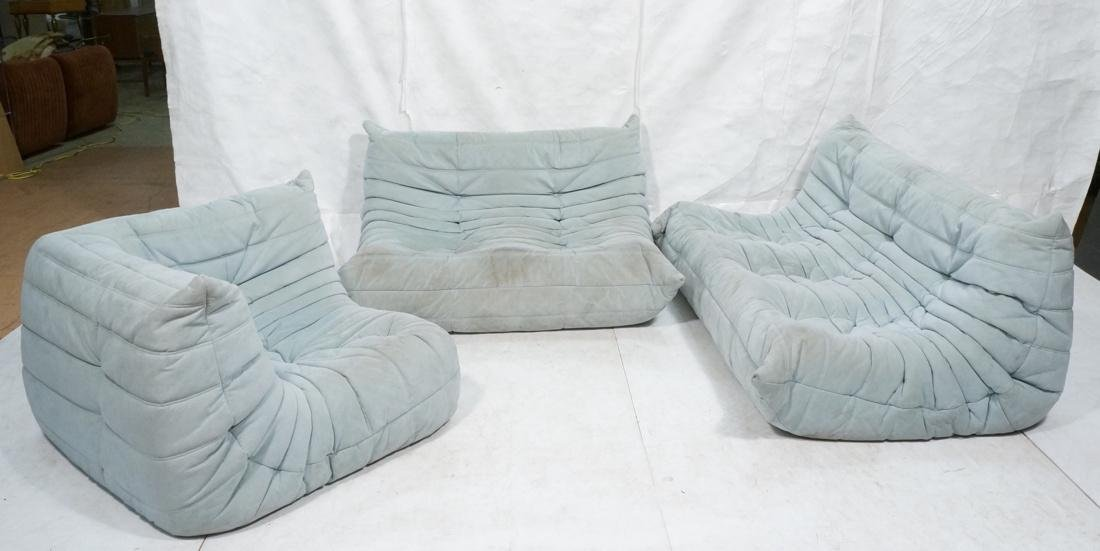 3pc LIGNE ROSET Pale Blue Suede Sectional Seating