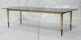 Black Glass Coffee Cocktail Table. Brushed gold f