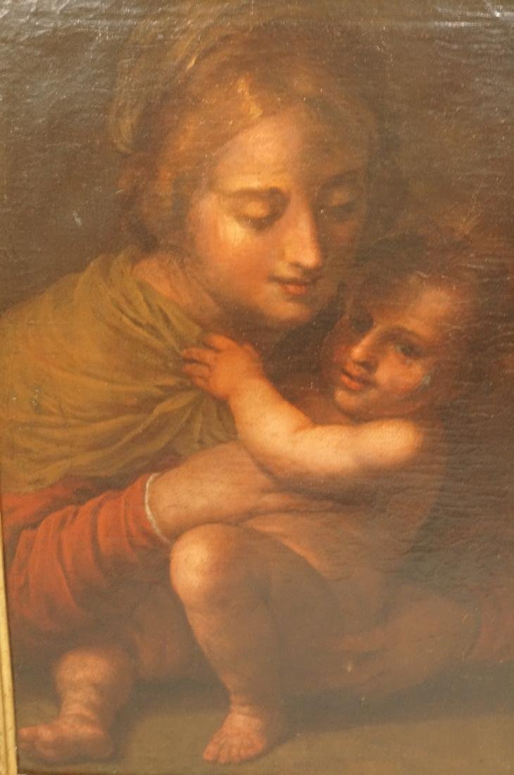 Antique Oil Painting Madonna & Child. Oil on Canv