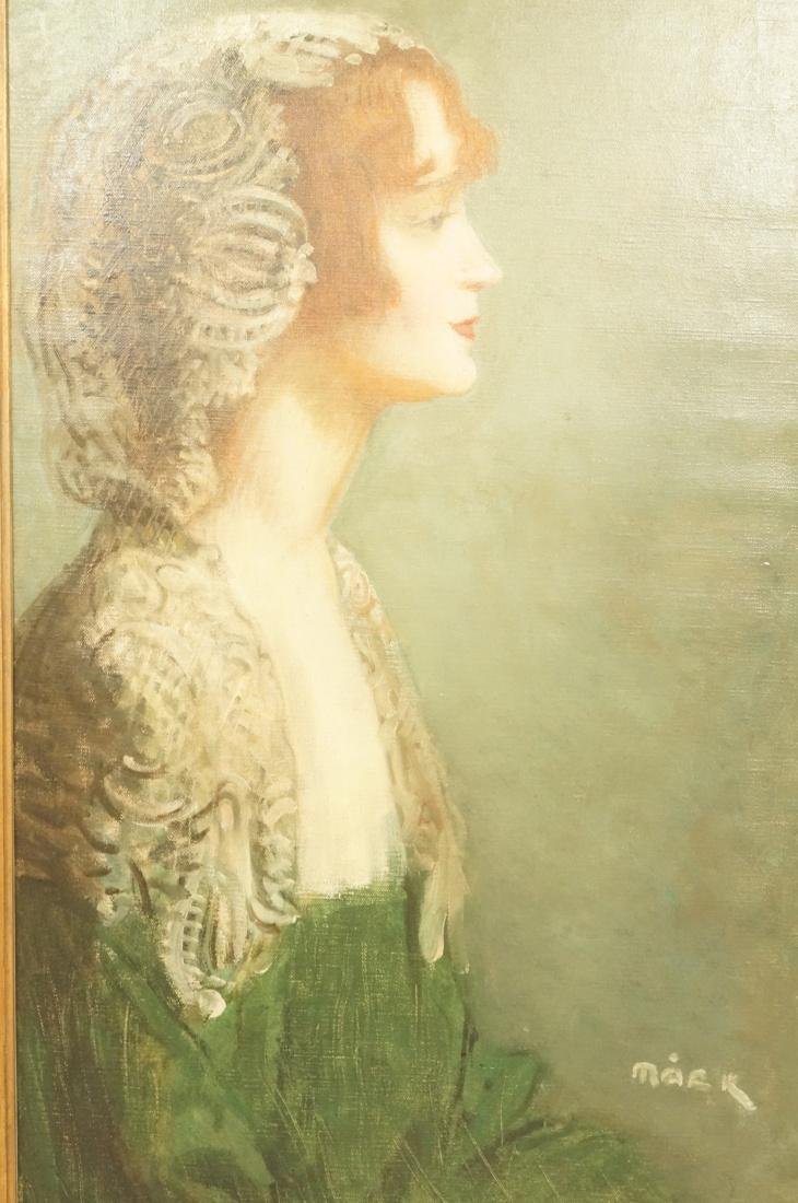 MACK Signed Oil Portrait Painting. Woman in Green