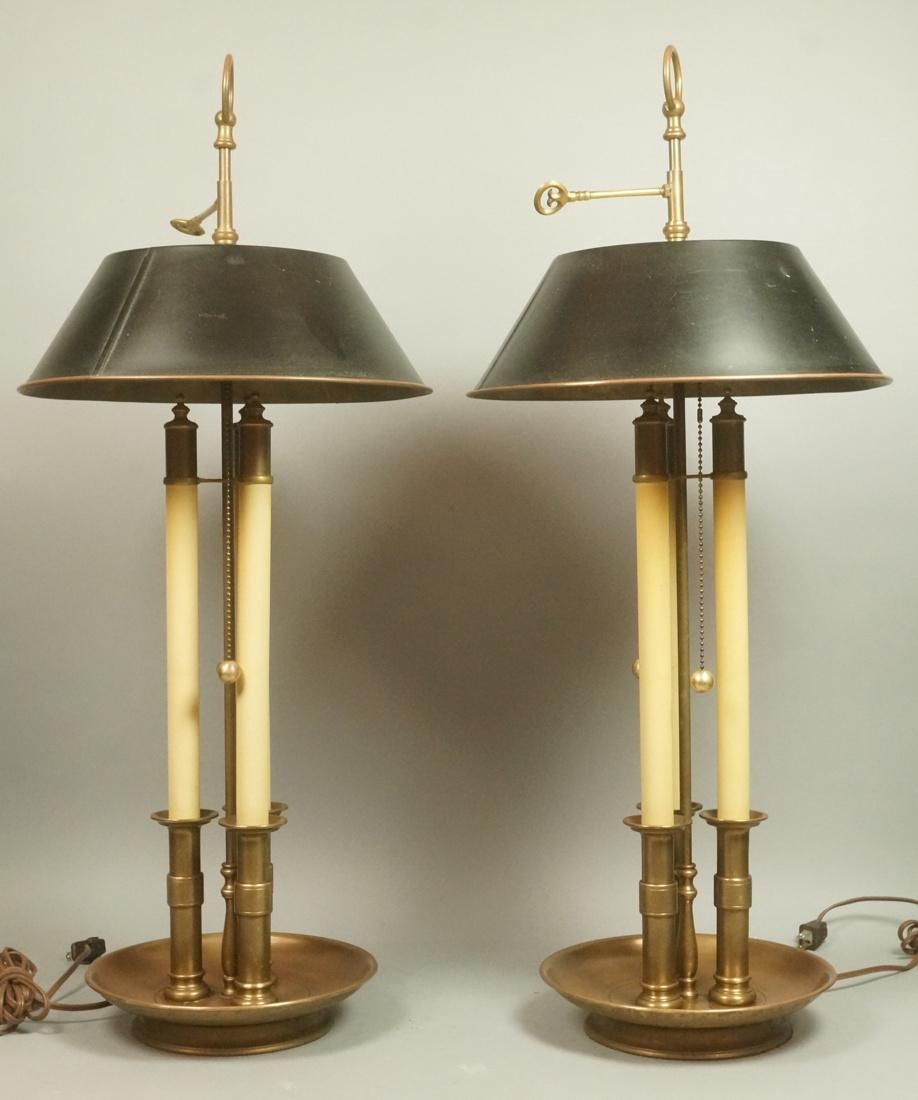 Pr Antique Brass CHAPMAN Candle Table Lamps with