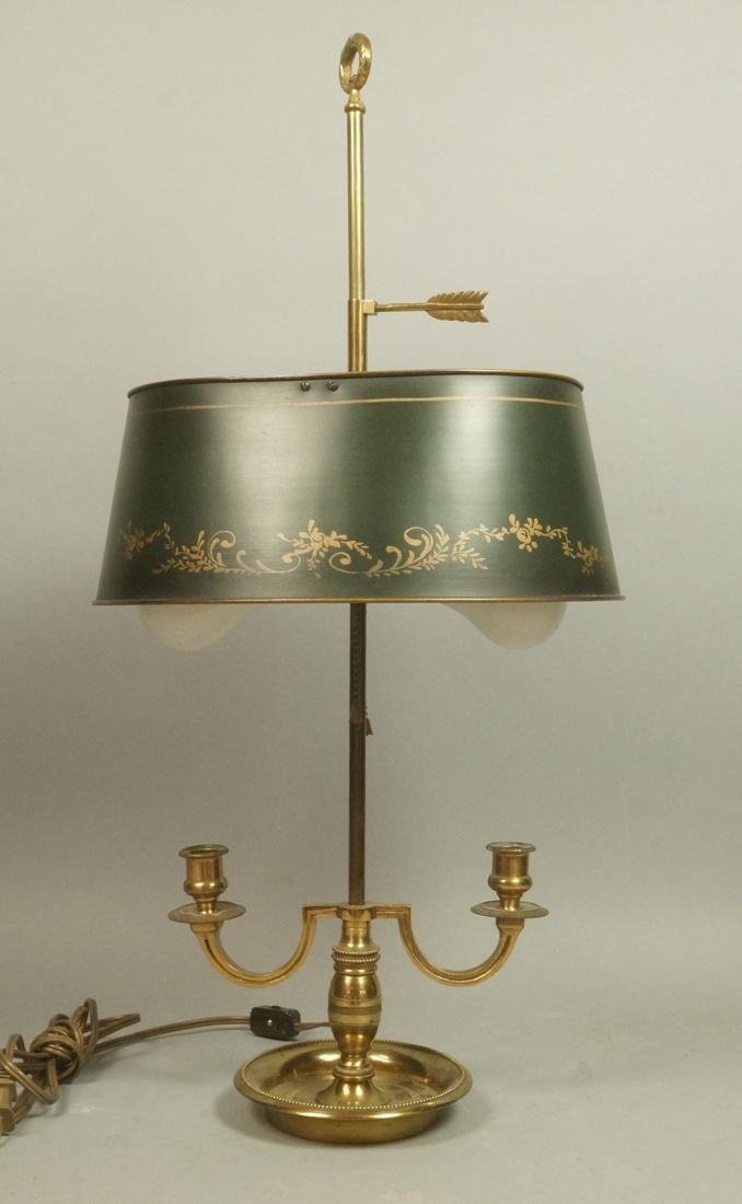 Brass Toleware Shade Antique table Lamp. Black me