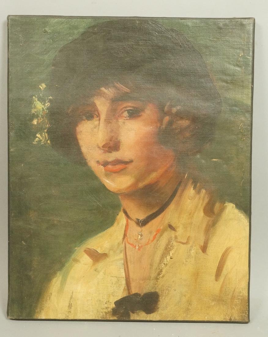 Small Oil Painting Portrait of Woman wearing Chok