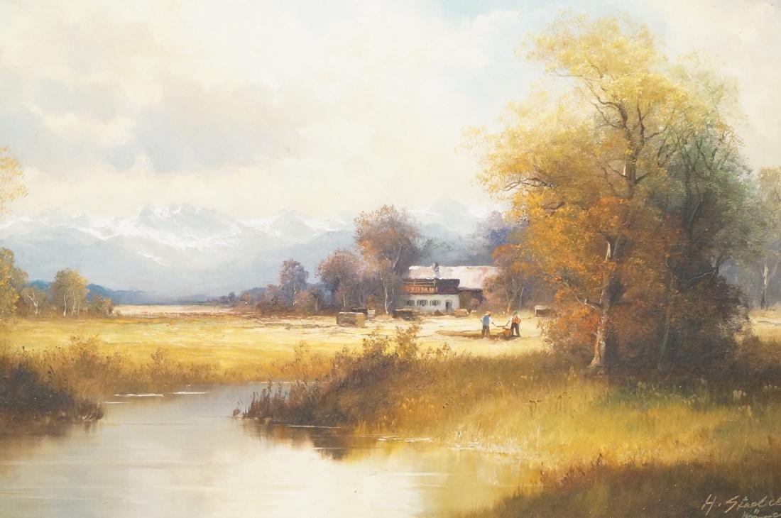 H. STADELHOFER Large Pastoral landscape Oil Paint
