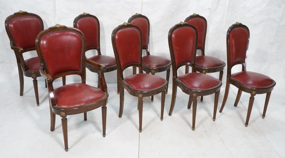 Set 8 Red Leather French Chairs.  Bronze mounts.
