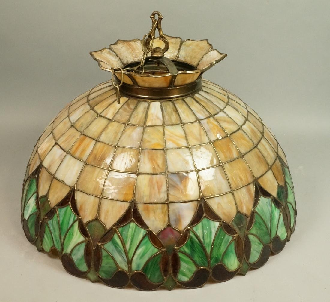 Domed Stained Slag Glass Hanging Light Shade. Car