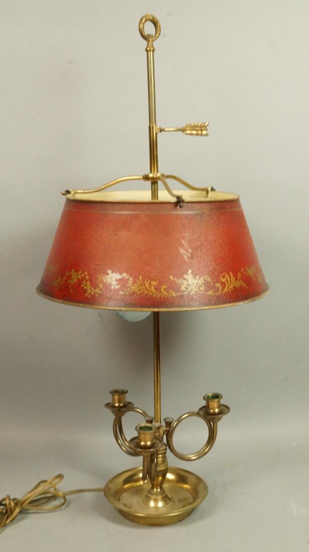 Brass Red Tole Ware Metal Shaded Table Lamp. Thre