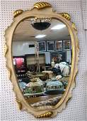 Large White Painted Decorator Wall Mirror Gilt w