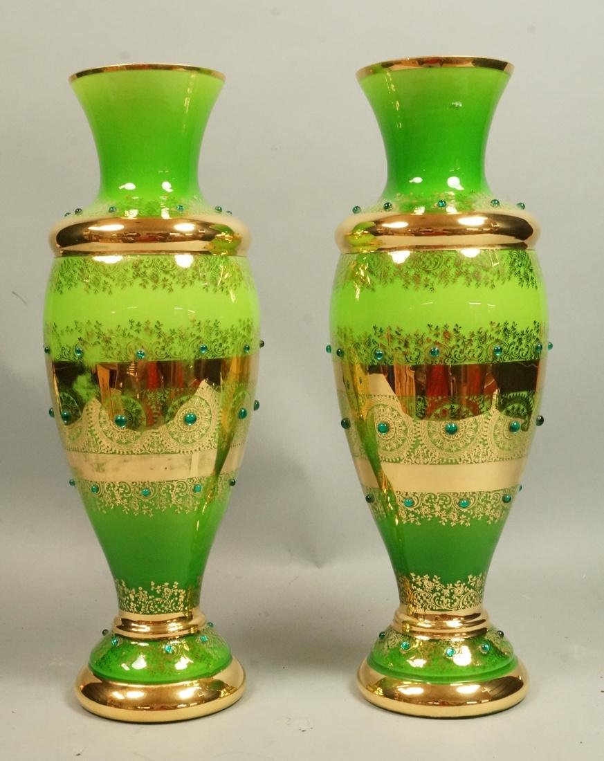 Pr Lime Green Glass Vases. Gold trim details with