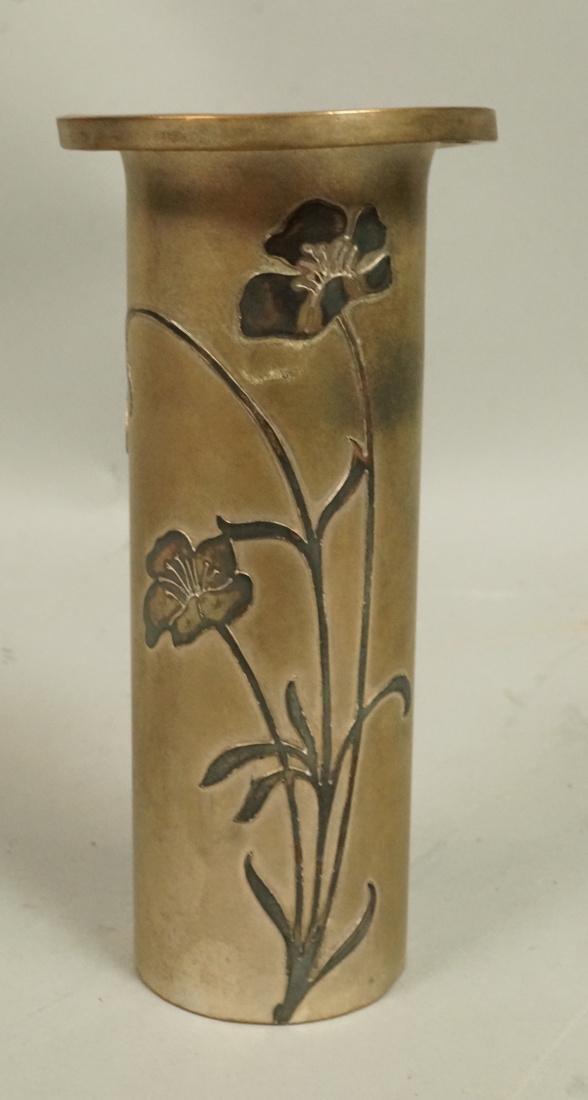 HEINTZ Bronze with Sterling Overlay Metal Vase. H