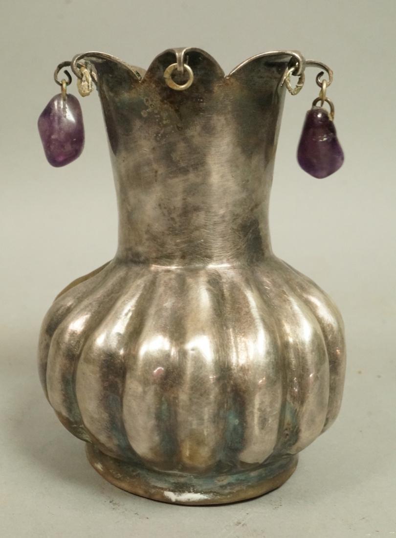 Mexican LOS CASTILLO  Melon Form Small Vase. Silv