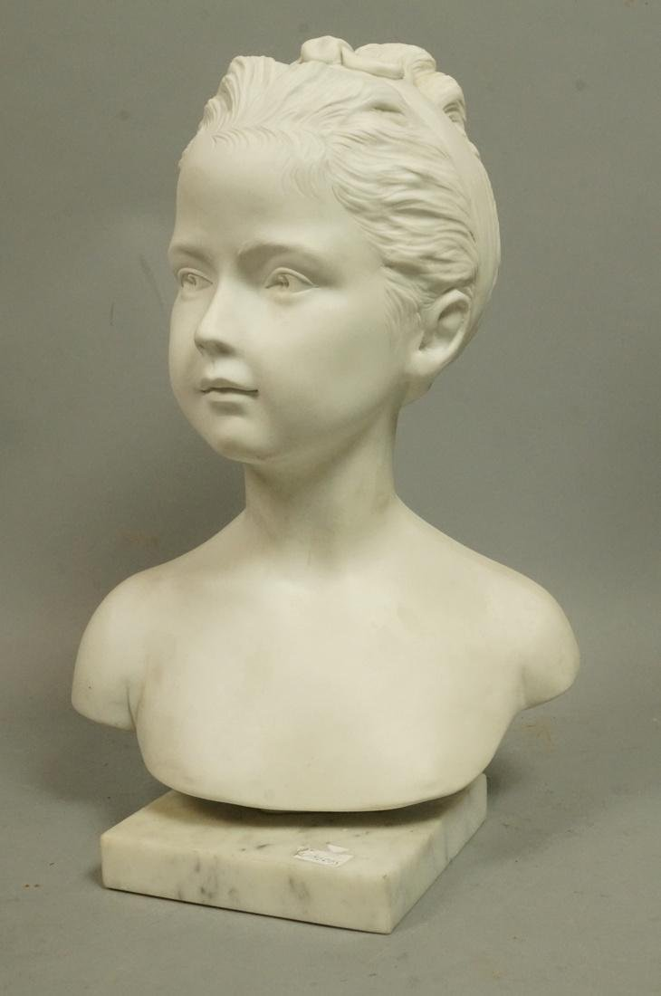French Bisque Porcelain LIMOGES Portrait Bust of