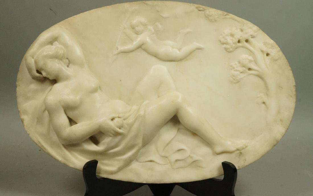 Carved Marble Oval Plaque. Reclining Nude Woman w