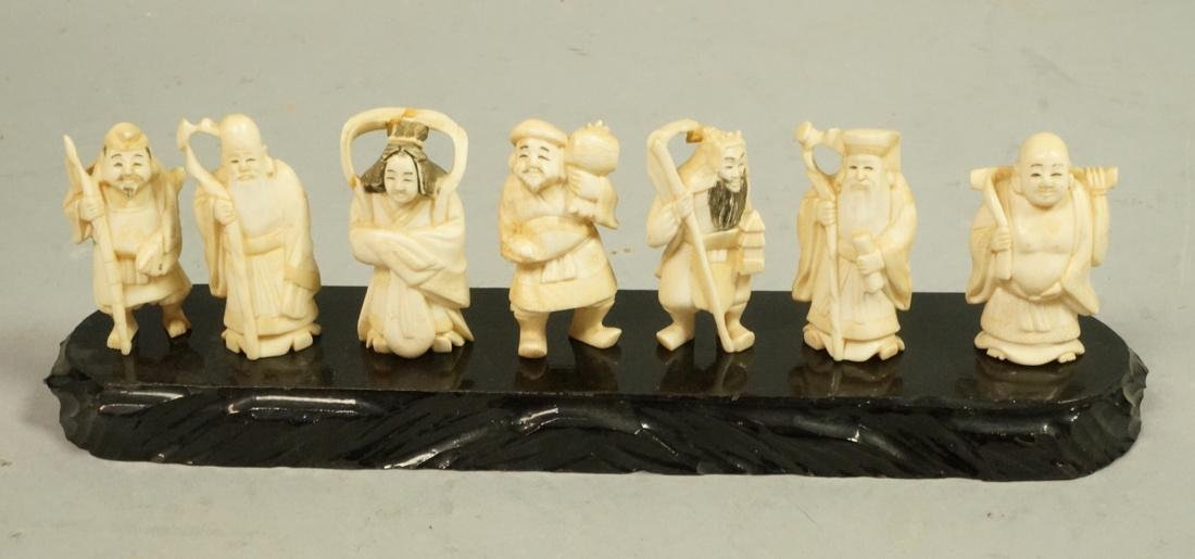 7pc Japanese Carved Natural Material 7 IMMORTALS