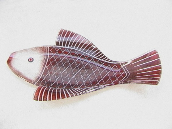 11: MAURICE HEATON Art Glass Figural Fish Plate Signed.