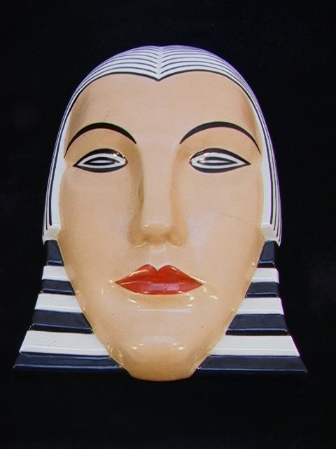 21: FRENCH Art Deco Egyptian Style Ceramic Wall Mask.