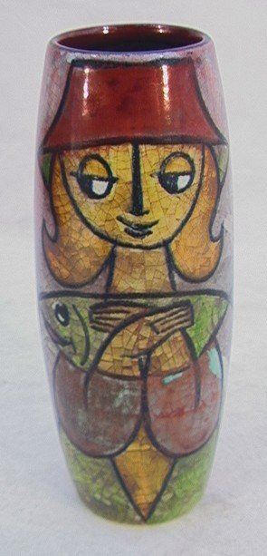 24: MICHAEL ANDERSEN Art Pottery Vase Woman with Fish.