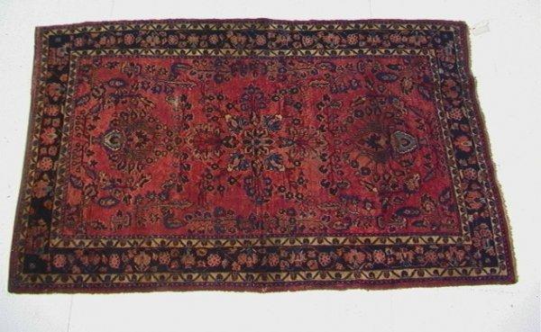 400: 6'6x4'1 Red SAROUK Oriental carpet, Black Border.