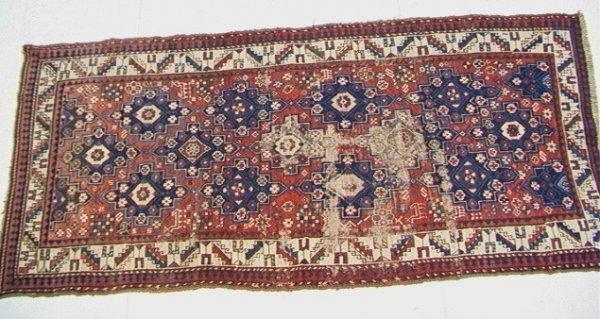 401: 8'5x3'11 CAUCASIAN Oriental Carpet, Blue repeating