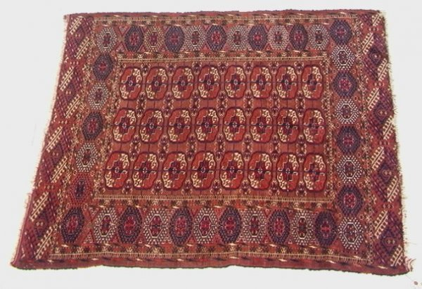406: 4'7x3'10 TURKISH Oriental Carpet, Repeating Red Pa