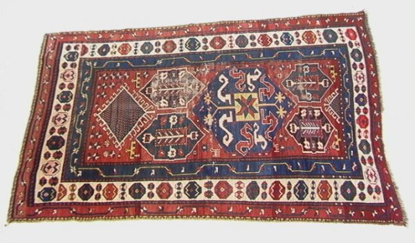407: 7'3x4'4 CAUCASIAN Oriental Carpet. Red Field, Blue