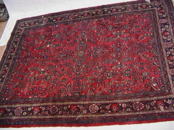 409: 11'10x8'11 HAMADAN Oriental Carpet Red.   Dimensio