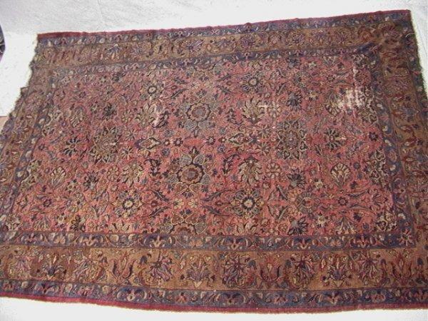410: 12'3x9'3 KIRMAN Oriental Carpet with Salmon Field.