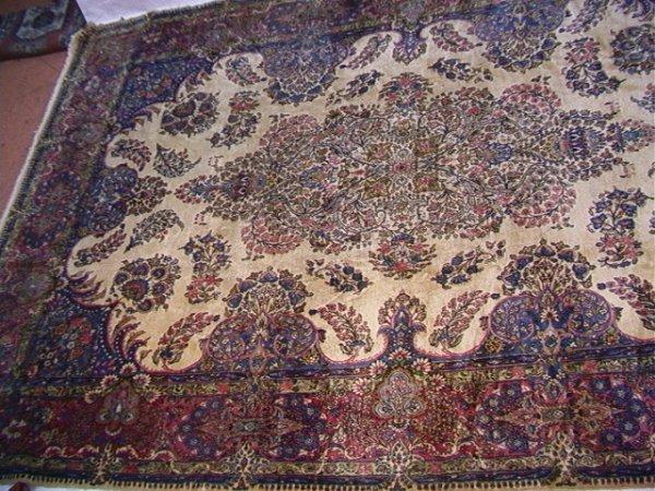 412: 14'7x9'10 KIRMAN Oriental Carpet tan field with ma